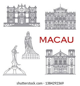 Macau architecture line facade icons, famous religious historic landmark buildings. Vector St Joseph church, A-ma Goddess and Kun Iam Statue, Nativity cathedral and Holy House of Mercy