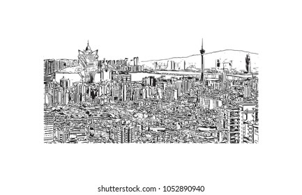 Macau is an autonomous region on the south coast of China, across the Pearl River Delta from Hong Kong. Hand drawn sketch illustration in vector.