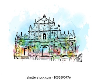 Macau is an autonomous region on the south coast of China, across the Pearl River Delta from Hong Kong. watercolor splash with Hand drawn sketch illustration in vector.