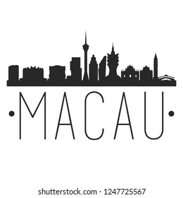 Macau China. City Skyline. Silhouette City. Design Vector. Famous Monuments.