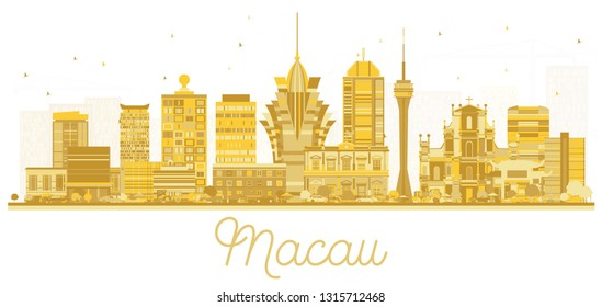 Macau China City Skyline Silhouette with Golden Buildings Isolated on White. Vector Illustration. Business Travel and Tourism Concept with Modern Architecture. Macau Cityscape with Landmarks.