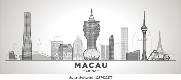 Macau China line skyline with panorama in sky background. Vector Illustration. Business travel and tourism concept with modern buildings. Image for banner or web site.