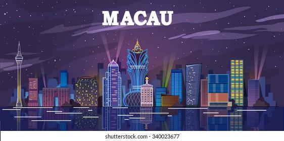 Macau, China skyline at the high rise casino resorts. vector illustration