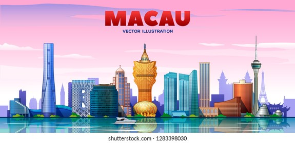 Macau ( China ) skyline with panorama in sky background. Vector Illustration. Business travel and tourism concept with modern buildings. Image for presentation, banner, web site.