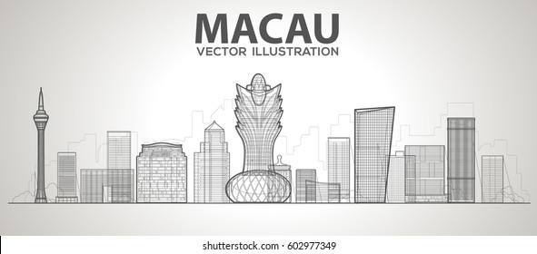 macau (China) skyline with panorama in white background. Vector line Illustration. Business travel and tourism concept with modern buildings. Image for banner or web site.