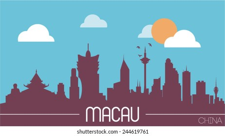Macau China skyline silhouette flat design vector illustration