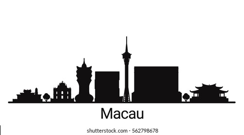 Macau city outline skyline. All Macau buildings - customizable objects, so you can simple change skyline composition. Minimal design.