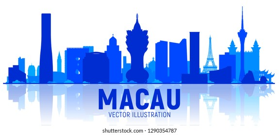 Macau city skyline silhouette vector illustration on white background. Business travel and tourism concept with modern buildings. Image for presentation, banner, web site.