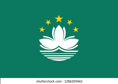 Macau flag, official colors and proportion correctly. National Macau flag. Vector illustration. EPS10. Macau flag vector icon, simple, flat design for web or mobile app.