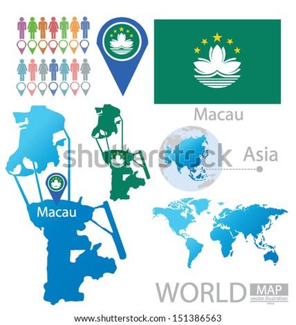 Macau On World Map.Macau Macao Special Administrative Region Peoples Stock Vector
