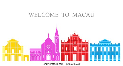 Macau set. Isolated Macau architecture on white background. EPS 10. Vector illustration