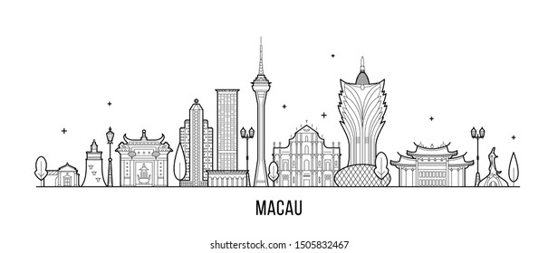 Macau skyline, China. This illustration represents the city with its most notable buildings. Vector is fully editable, every object is holistic and movable