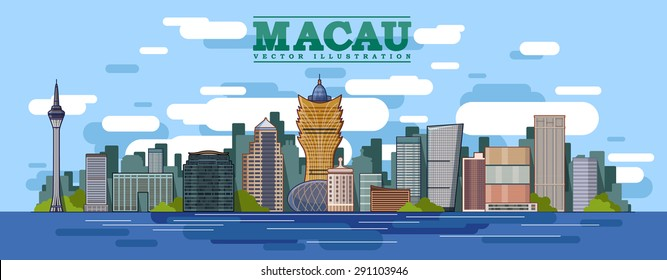 Macau skyline in color background in editable vector file .