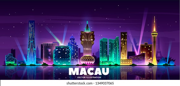 Macau skyline at night. Vector illustration.