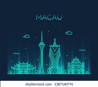 Macau skyline, People's Republic of China. Trendy vector illustration, linear style