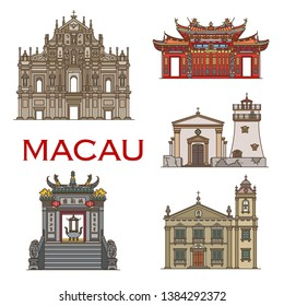 Macau temples and religious historic architecture, famous landmark buildings. Macau vector icons of St Paul cathedral and Saint Antonio church, A-ma temple gates and Guia fortress lighthouse