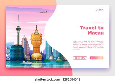 Macau Travel banner. Vector template design with travel and tour text and most famous landmarks and tourist destinations elements in colorful background. Vector illustration.