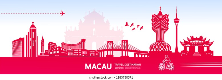 Macau travel destination vector illustration.