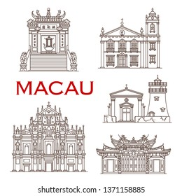 Macau travel landmark vector icons with architectural tourist sights of China. St Anthony Church, Guia Fortress with Lighthouse and Capela, Gate and Building of A-Ma Temple, Ruins of St Paul Church