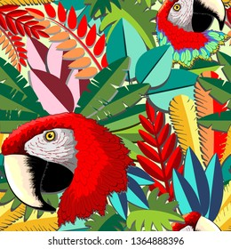 Macaw Parrot Arara Paper Craft Vector Seamless Pattern Design