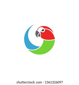 Macaw parrot. Logo. Isolated parrot on white background