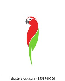 Macaw parrot. Logo. Isolated parrot on white background. Tropical bird. Wild animal