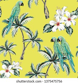 2a83089b9 Macaw parrots, palm trees, white hibiscus flowers, green leaves, yellow  background.