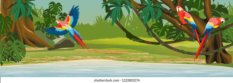 Macaw parrots sit on the branches and fly over the lake in the jungle. A tropical forest. Rainforests of Amazonia. Tree, epiphytes, creepers, banana trees and monsteras. Realistic Vector Landscape