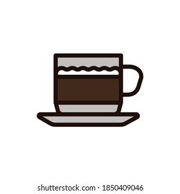 Macchiato color line icon. Italian coffee with lemon juice. Isolated vector element. Outline pictogram for web page, mobile app, promo