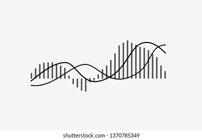 MACD indicator technical analysis. Vector stock and cryptocurrency exchange graph, forex analytics and trading market chart. Moving Average Convergence Divergence flat icon isolated on white