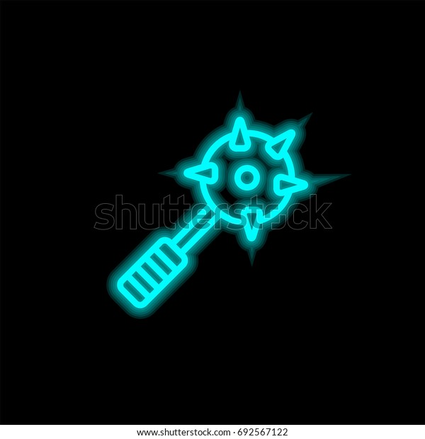 Mace blue glowing neon ui ux icon. Glowing sign logo vector