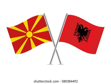 Macedonia and Albania flags. Vector illustration.