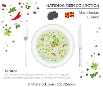 Macedonia Cuisine. European national dish collection. Macedonian cold soup tarator isolated on white, infographic. Vector illustration
