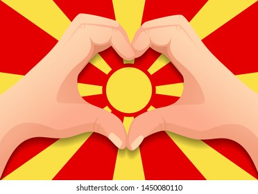 Macedonia flag and hand heart shape. Patriotic background. National flag of Macedonia vector illustration