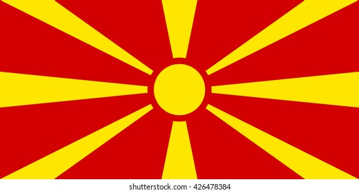 Macedonia flag, official colors and proportion correctly. National Macedonia flag. Vector illustration. EPS10.