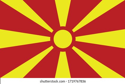 Macedonia flag vector graphic. Rectangle Macedonian flag illustration. Macedonia country flag is a symbol of freedom, patriotism and independence.