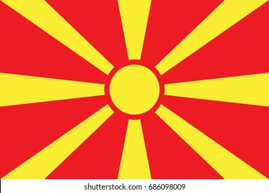 Macedonia Flag vector illustration. Macedonia Flag. National Flag of Macedonia.