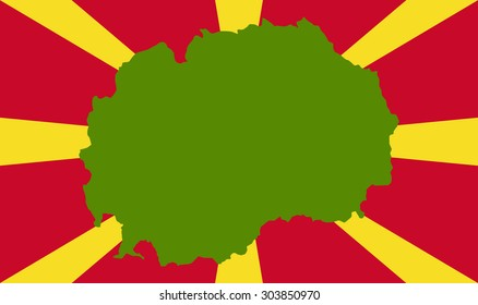 Macedonia map on a flag background