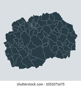Macedonia map on gray background vector, Macedonia Map Outline Shape Gray on White Vector Illustration, High detailed Gray illustration map Macedonia.
