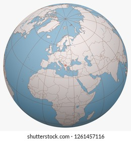 Macedonia on the globe. Earth hemisphere centered at the location of the Republic of Macedonia. The former Yugoslav Republic of Macedonia (FYROM) map.