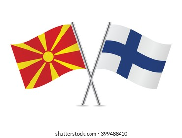 Macedonian and Finnish flags. Vector illustration.
