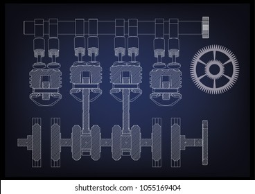 Car engine blueprint images stock photos vectors shutterstock the car engine on a blue background 3d malvernweather Images
