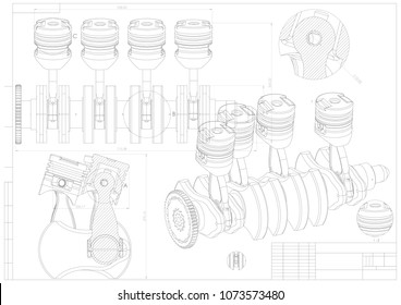 Machine building drawing. Engine car on a white background. 3d model