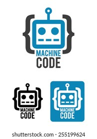Machine code is a minimalist, simple and modern logo template. Represents a robot head enclosed between brackets to give the idea of computer code.