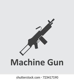 Machine Gun grey icon on the grey background.