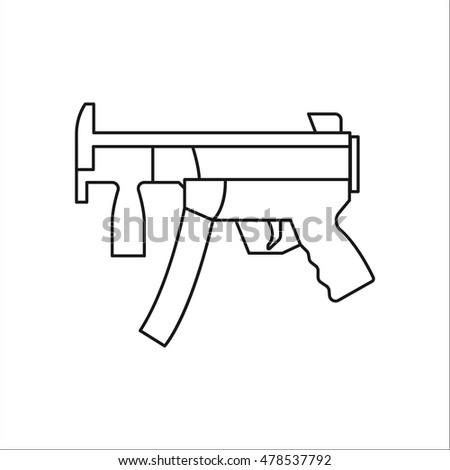 Machine Gun Symbol Sign One Line Stock Vector Royalty Free