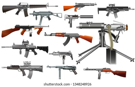 Machine guns, assault rifles, old and modern. Color vector set, isolated on white background illustration