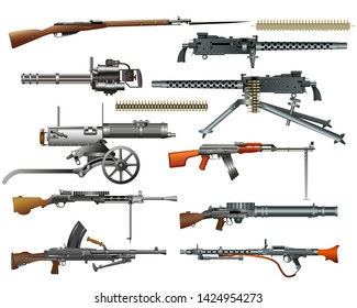Machine guns and rifles: old and modern. Color vector illustration, isolated on white. Set