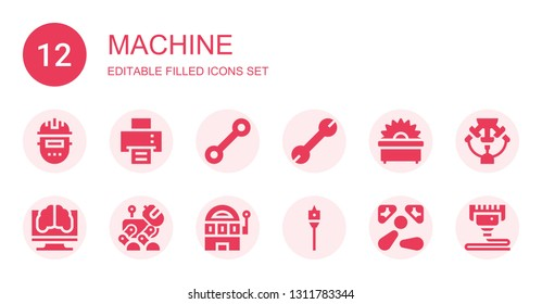 machine icon set. Collection of 12 filled machine icons included Welder, Printing machine, Wrench, Saw, Artificial intelligence, Robot, Slot Auger, Pinball, d print
