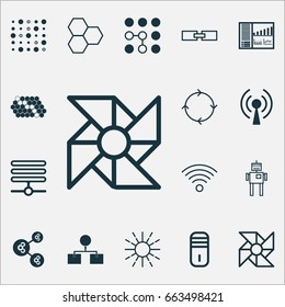 Machine Icons Set. Collection Of Information Components, Controlling Board, Hive Pattern And Other Elements. Also Includes Symbols Such As Shine, Complex, Diagram.